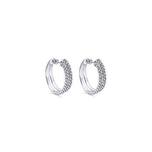 14k White Gold Diamond Classic Hoop Earrings angle 1