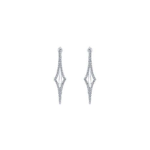 14k White Gold Diamond Classic Hoop Earrings angle 3