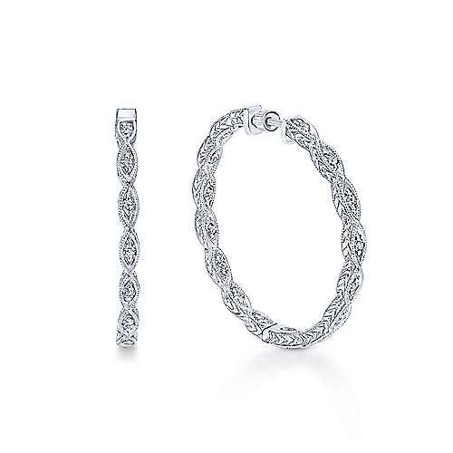 14k White Gold Diamond Classic Hoop