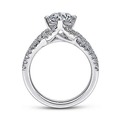 14k White Gold Diamond Criss Cross Engagement Ring angle 2