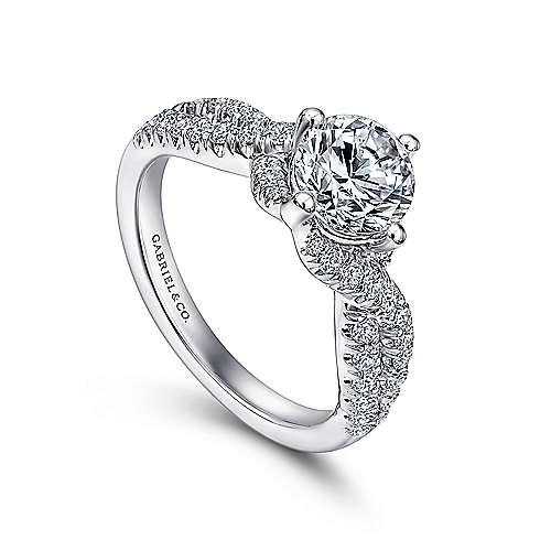 14k White Gold Diamond Criss Cross Engagement Ring angle 3