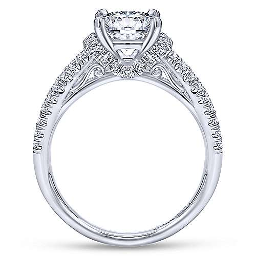 14k White Gold Diamond Criss Cross Engagement Ring angle 2