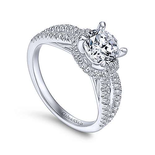 14k White Gold Diamond Criss Cross Engagement Ring angle 3