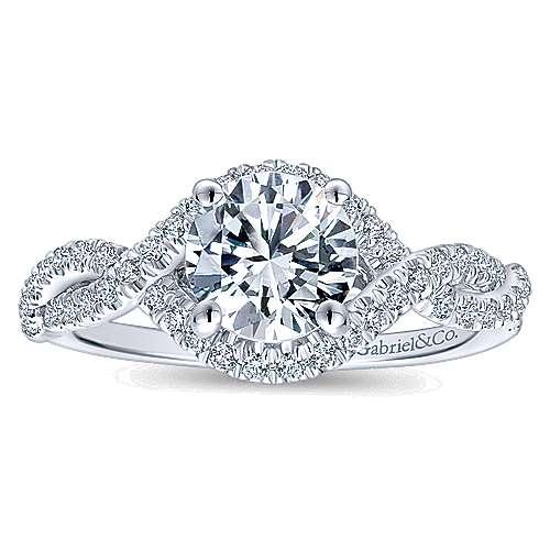 14k White Gold Diamond Criss Cross Engagement Ring angle 5