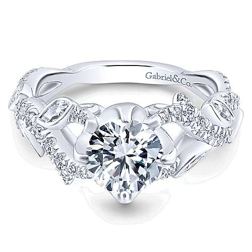 14k White Gold Diamond Criss Cross