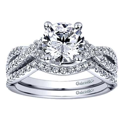 14k White Gold Diamond Criss Cross Engagement Ring angle 4