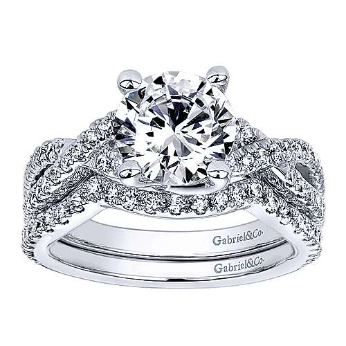 14k White Gold Diamond Criss Cross Engagement Ring angle 4