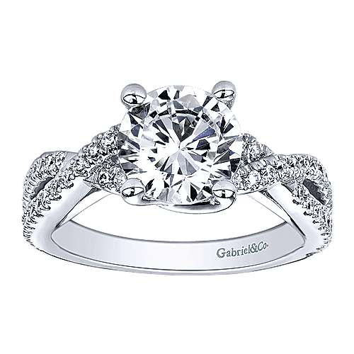 14k White Gold Diamond Criss Cross Engagement Ring angle 5
