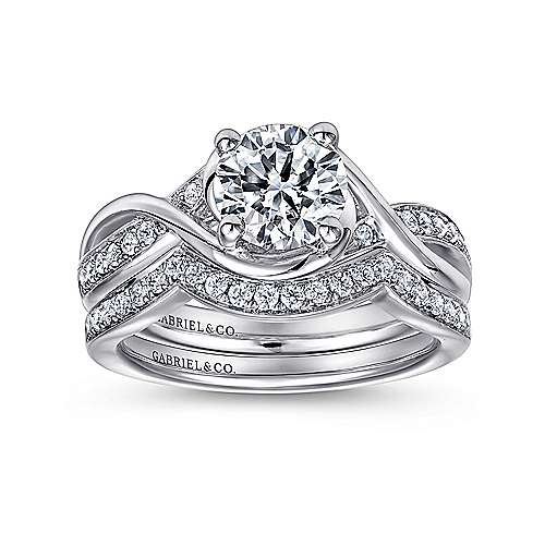 14k White Gold Diamond Criss Cross Round Engagement Ring angle 4