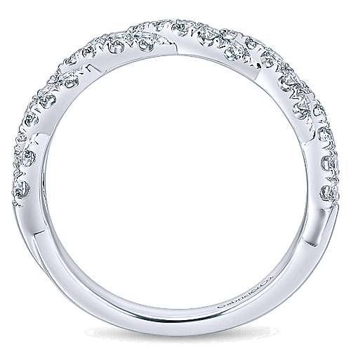 14k White Gold Diamond Criss Cross Wedding Band angle 2