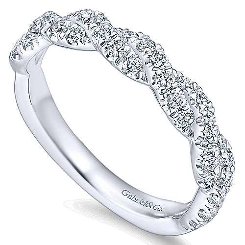 14k White Gold Diamond Criss Cross Wedding Band angle 3