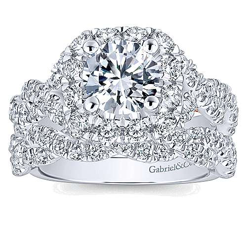 14k White Gold Diamond Criss Cross Wedding Band angle 4