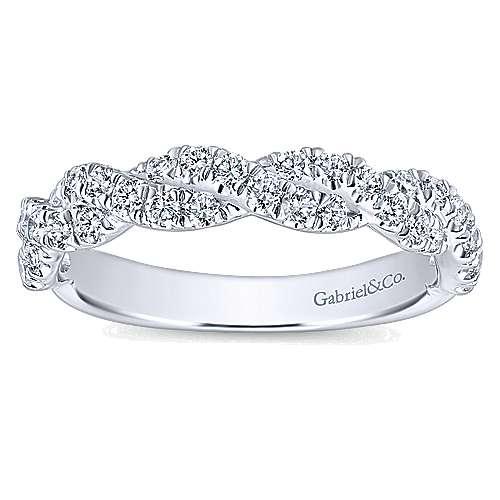 14k White Gold Diamond Criss Cross Wedding Band angle 5