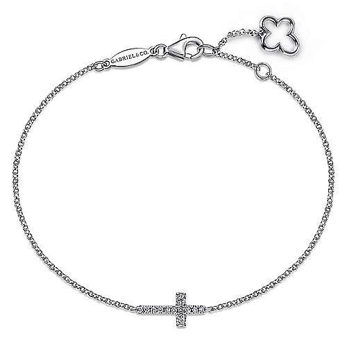 Gabriel - 14k White Gold Faith Cross Bracelet