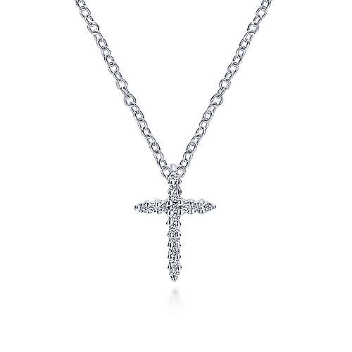 14k White Gold Diamond Cross Cross Pendant angle 3