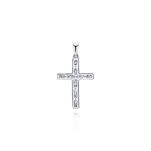 14k White Gold Diamond Cross Cross Pendant angle 2
