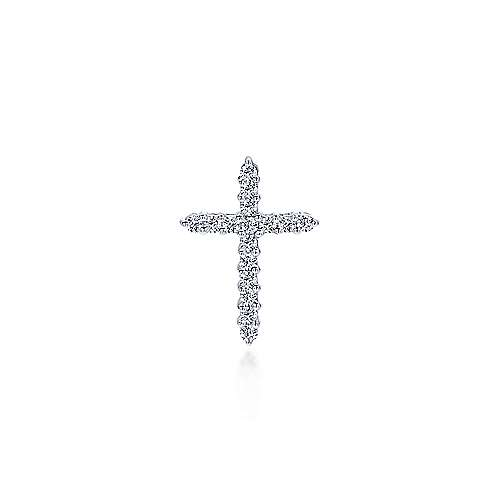 14k White Gold Diamond Cross Cross Pendant angle 1