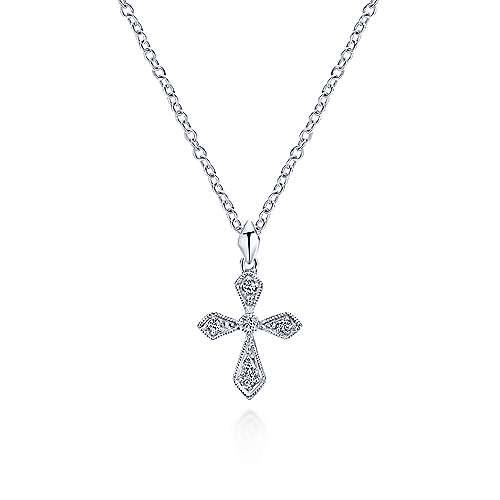 14k White Gold Diamond Cross Cross Pendant angle 3