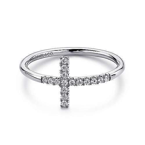 Gabriel - 14k White Gold Faith Cross Ladies' Ring