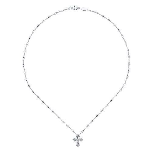 14k White Gold Diamond Cross Necklace angle 2