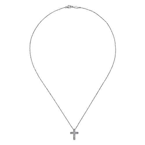 14k White Gold Diamond Cross Necklace angle 2