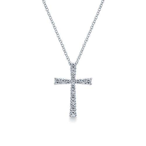 14k White Gold Diamond Cross Necklace angle 1