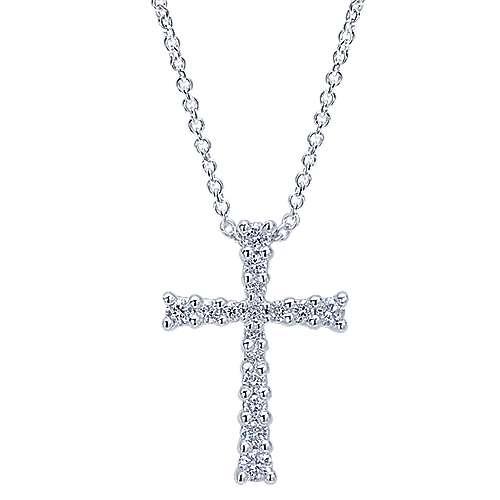 14k White Gold Faith Cross