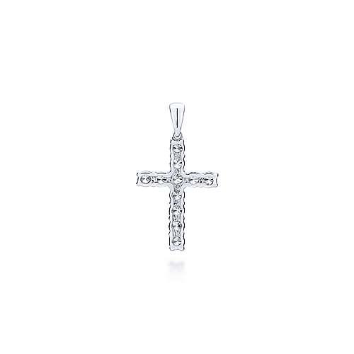 14k White Gold Diamond Cross Pendant angle 2