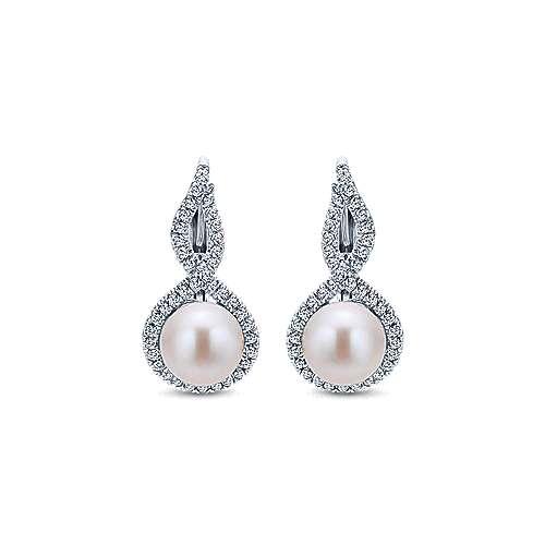 Gabriel - 14k White Gold Grace Drop Earrings