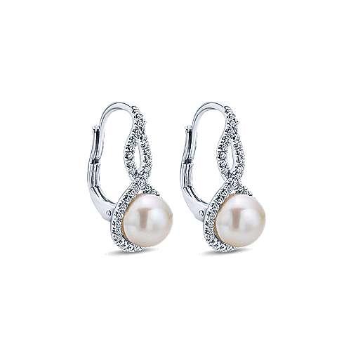 14k White Gold Diamond Cultured Pearl Drop Earrings angle 2