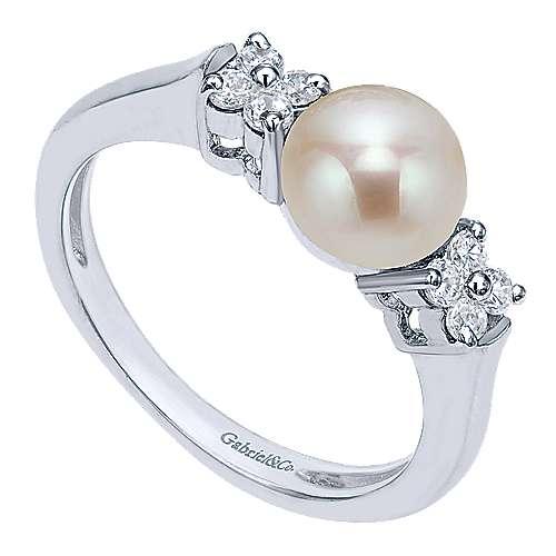 14k White Gold Diamond Cultured Pearl Fashion Ladies