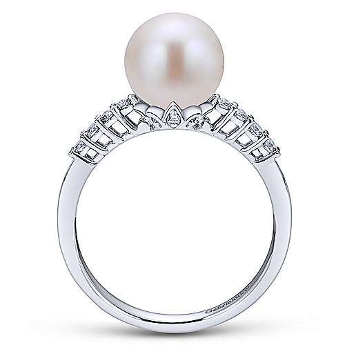 14k White Gold Diamond Cultured Pearl Fashion Ladies