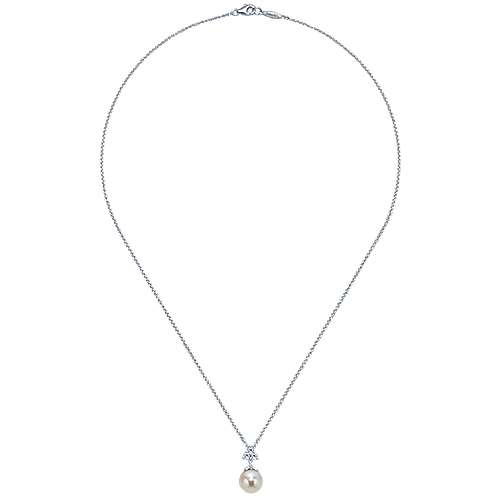 14k White Gold Diamond Cultured Pearl Fashion Necklace angle 2