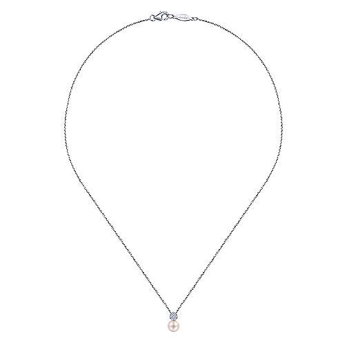 14k White Gold Diamond Cultured Pearl Fashion Necklace angle 2