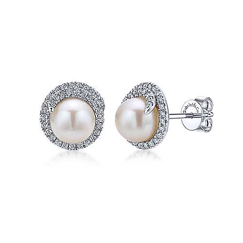 14k White Gold Diamond Cultured Pearl Stud Earrings angle 1