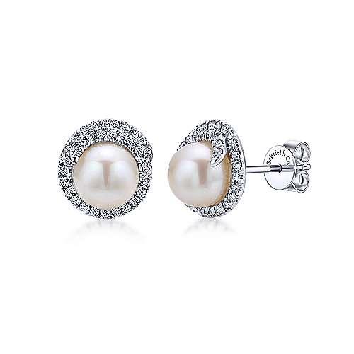 Gabriel - 14k White Gold Grace Stud Earrings
