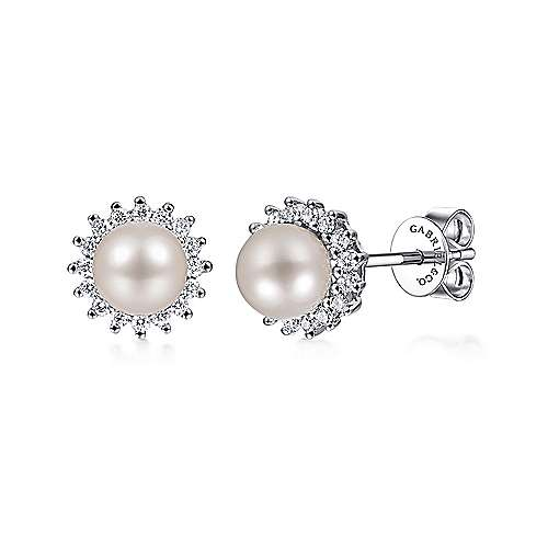 Gabriel - 14k White Gold Grace Stud Earrings