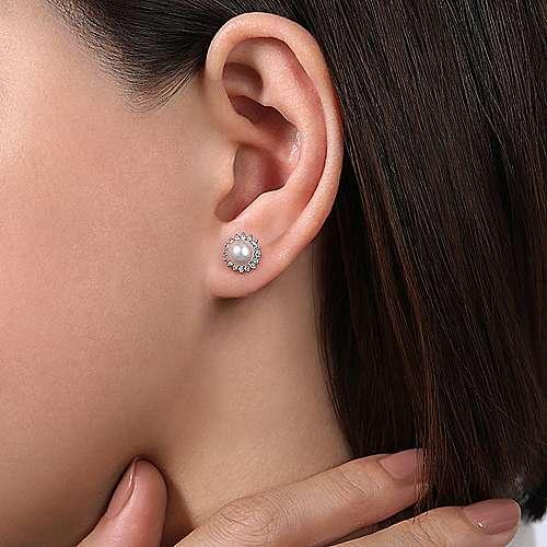14k White Gold Diamond Cultured Pearl Stud Earrings angle 2