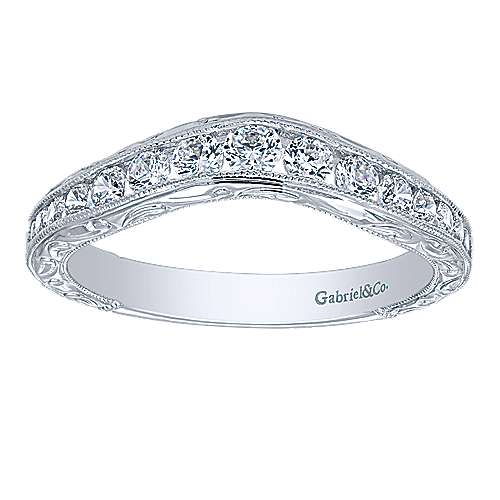 14k White Gold Diamond Curved Anniversary Band angle 5