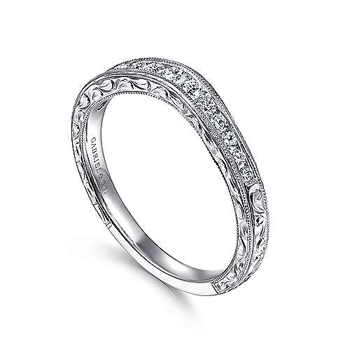 14k White Gold Diamond Curved Anniversary Band angle 3