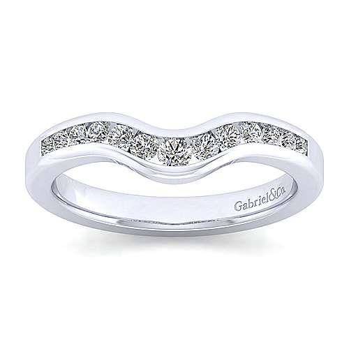 14k White Gold Diamond Curved Anniversary Band angle 5