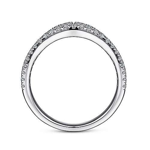 14k White Gold Diamond Curved Anniversary Band angle 2