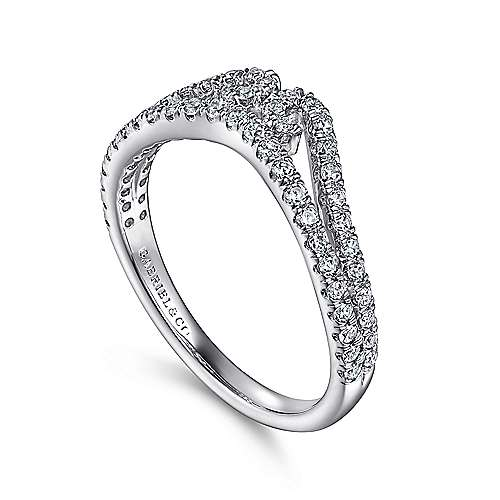 14k White Gold Diamond Curved Anniversary Band angle 3