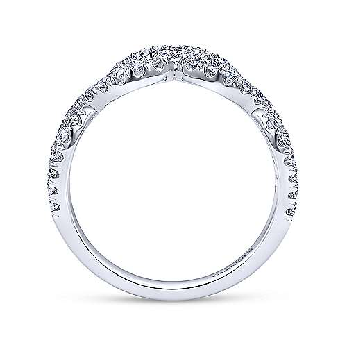 14k White Gold Diamond Curved Anniversary Band angle 2
