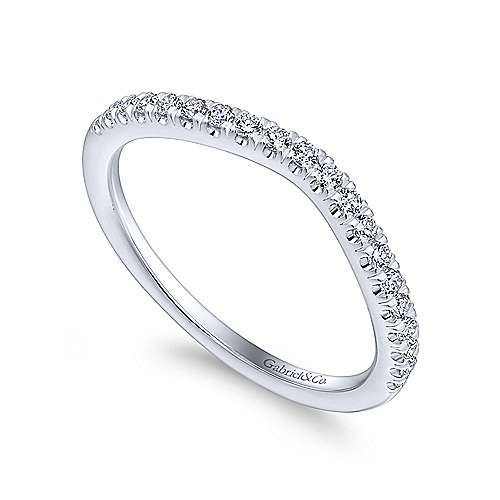 14k White Gold Diamond Curved Wedding Band angle 3