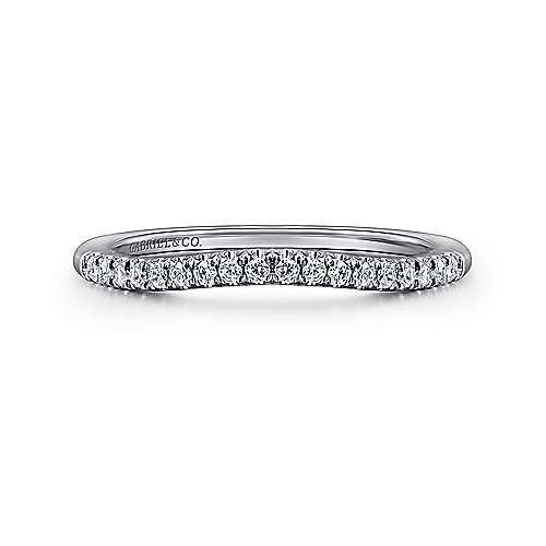 14k White Gold Diamond Curved