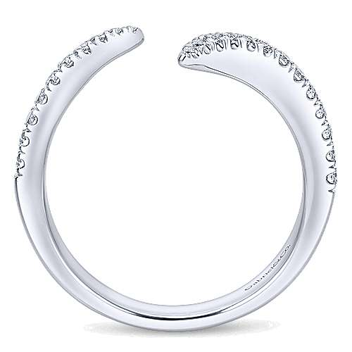 14k White Gold Diamond Curved Wedding Band angle 2
