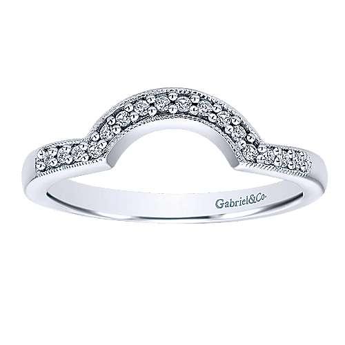 14k White Gold Diamond Curved Wedding Band angle 5