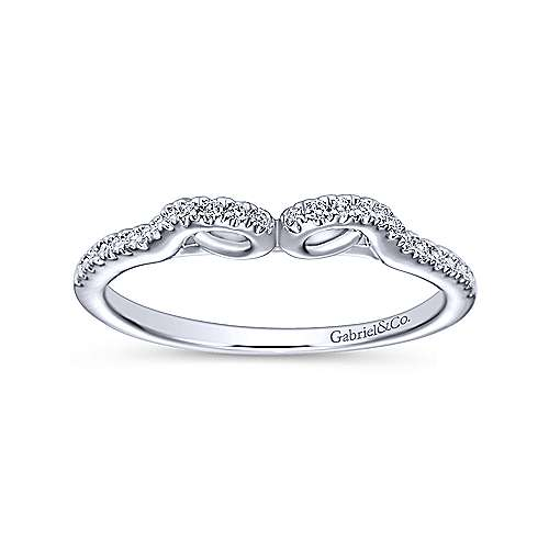 14k White Gold Diamond Curved Wedding Band angle 5