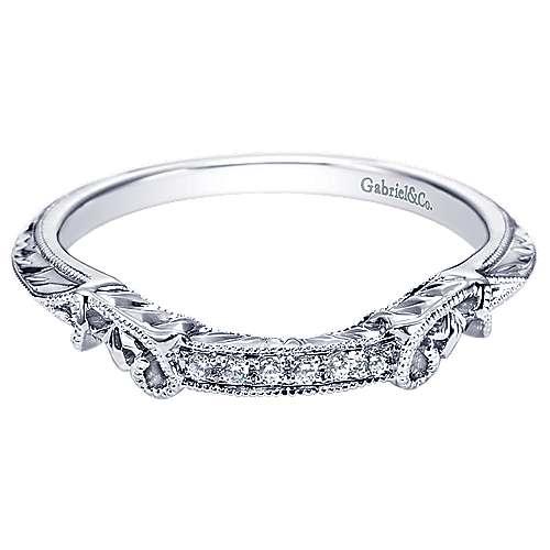 14k White Gold Diamond Curved